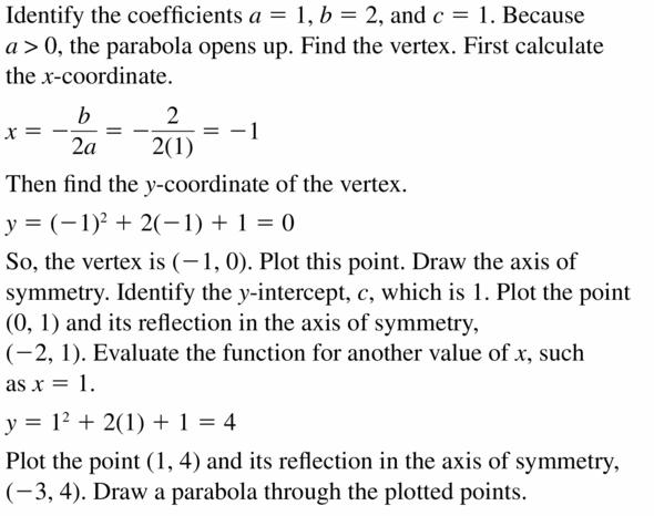 Big Ideas Math Algebra 2 Answers Chapter 2 Quadratic Functions 2.2 Question 21.1
