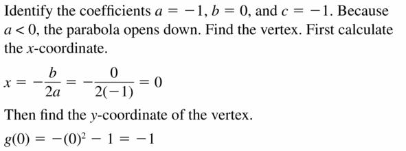 Big Ideas Math Algebra 2 Answers Chapter 2 Quadratic Functions 2.2 Question 25.1