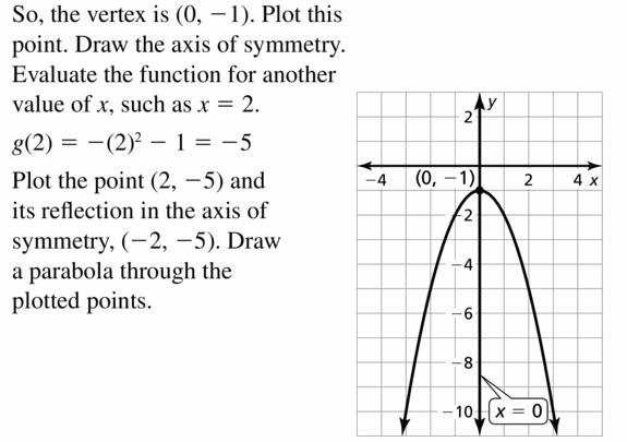 Big Ideas Math Algebra 2 Answers Chapter 2 Quadratic Functions 2.2 Question 25.2