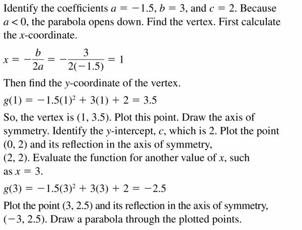 Big Ideas Math Algebra 2 Answers Chapter 2 Quadratic Functions 2.2 Question 27.1