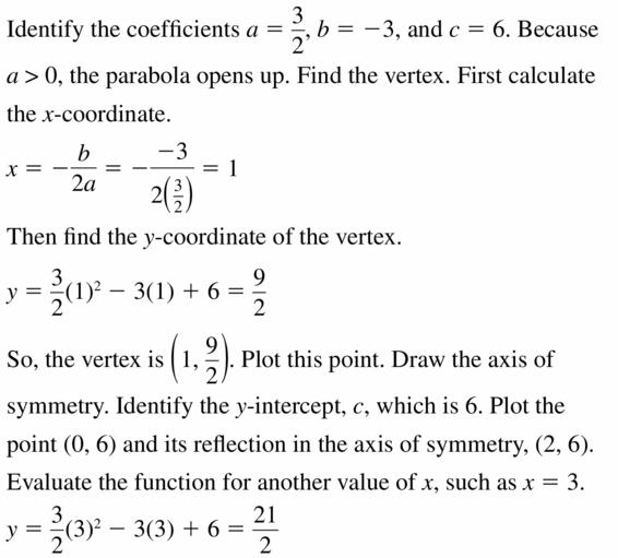 Big Ideas Math Algebra 2 Answers Chapter 2 Quadratic Functions 2.2 Question 29.1