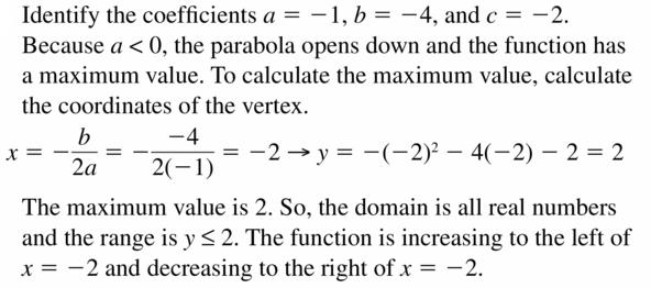 Big Ideas Math Algebra 2 Answers Chapter 2 Quadratic Functions 2.2 Question 41