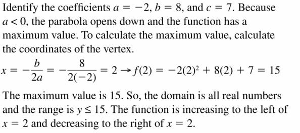 Big Ideas Math Algebra 2 Answers Chapter 2 Quadratic Functions 2.2 Question 43