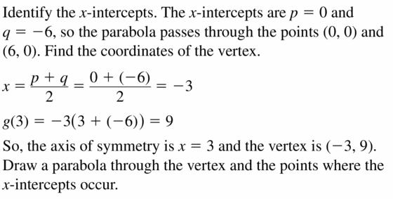 Big Ideas Math Algebra 2 Answers Chapter 2 Quadratic Functions 2.2 Question 57.1