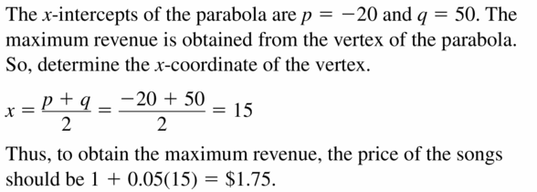 Big Ideas Math Algebra 2 Answers Chapter 2 Quadratic Functions 2.2 Question 69