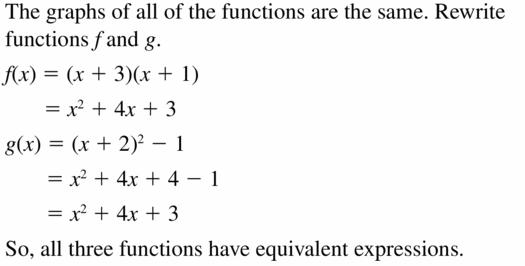 Big Ideas Math Algebra 2 Answers Chapter 2 Quadratic Functions 2.2 Question 71