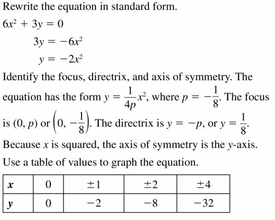 Big Ideas Math Algebra 2 Answers Chapter 2 Quadratic Functions 2.3 Question 19.1