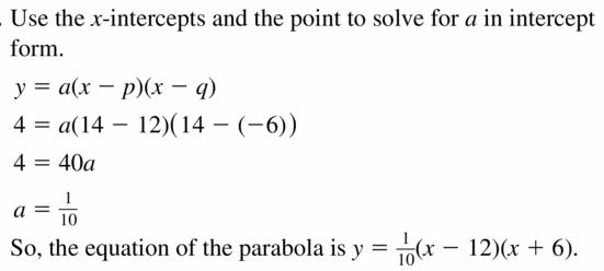 Big Ideas Math Algebra 2 Answers Chapter 2 Quadratic Functions 2.4 Question 11