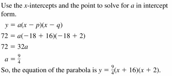 Big Ideas Math Algebra 2 Answers Chapter 2 Quadratic Functions 2.4 Question 13