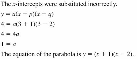 Big Ideas Math Algebra 2 Answers Chapter 2 Quadratic Functions 2.4 Question 21