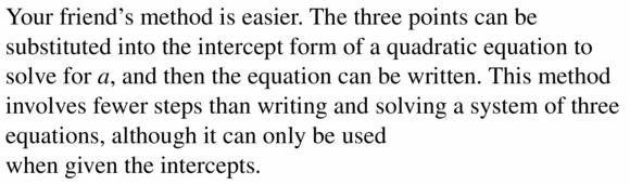Big Ideas Math Algebra 2 Answers Chapter 2 Quadratic Functions 2.4 Question 25