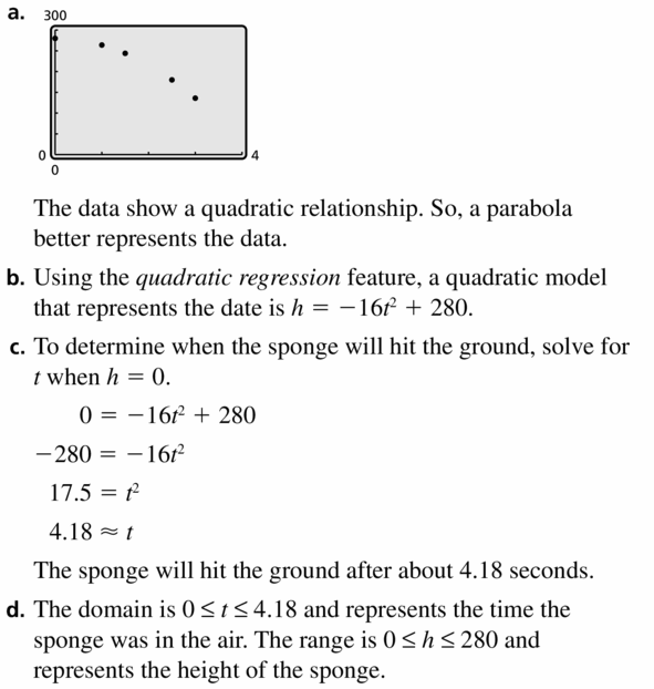Big Ideas Math Algebra 2 Answers Chapter 2 Quadratic Functions 2.4 Question 27