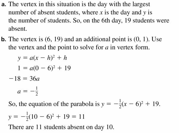 Big Ideas Math Algebra 2 Answers Chapter 2 Quadratic Functions 2.4 Question 33.1