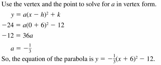 Big Ideas Math Algebra 2 Answers Chapter 2 Quadratic Functions 2.4 Question 7