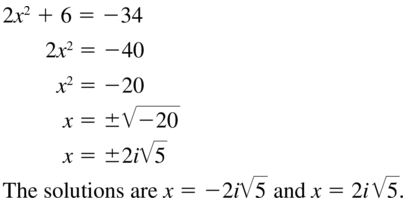 Big Ideas Math Algebra 2 Answers Chapter 3 Quadratic Equations and Complex Numbers 3.2 a 53