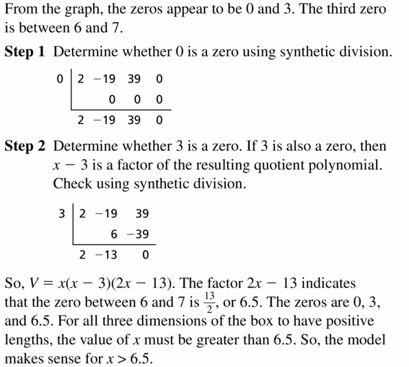 Big Ideas Math Algebra 2 Answers Chapter 4 Polynomial Functions 4.4 Question 55