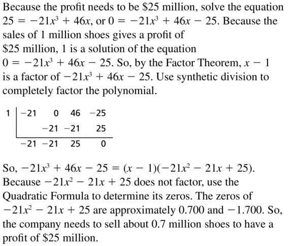 Big Ideas Math Algebra 2 Answers Chapter 4 Polynomial Functions 4.4 Question 67