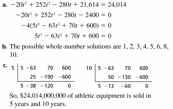 Big Ideas Math Algebra 2 Answers Chapter 4 Polynomial Functions 4.5 Question 53
