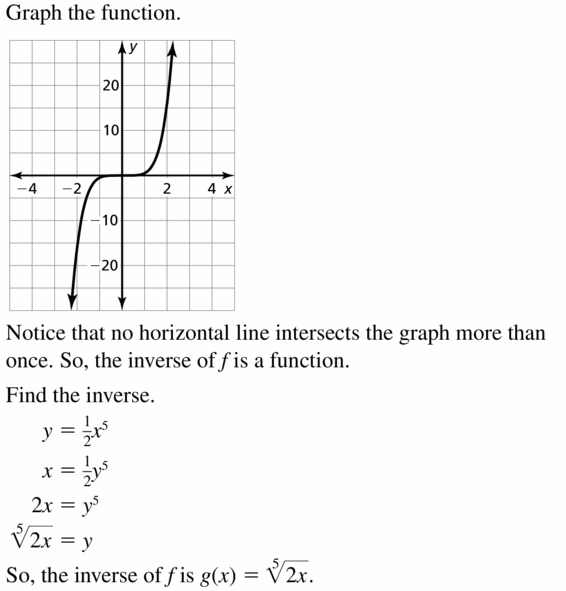 Big Ideas Math Algebra 2 Answers Chapter 5 Rational Exponents and Radical Functions 5.6 Question 45