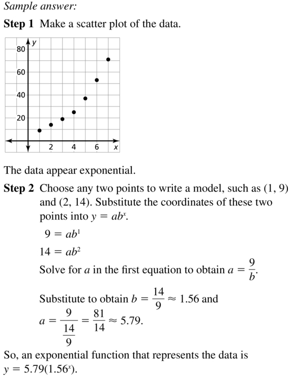 Big Ideas Math Algebra 2 Answers Chapter 6 Exponential and Logarithmic Functions 6.7 a 19