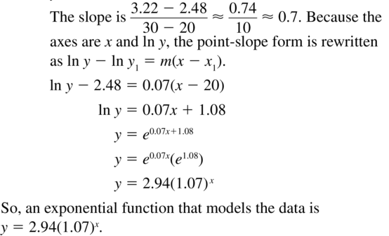 Big Ideas Math Algebra 2 Answers Chapter 6 Exponential and Logarithmic Functions 6.7 a 25.2