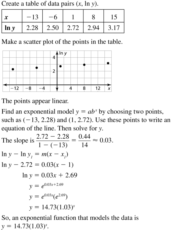 Big Ideas Math Algebra 2 Answers Chapter 6 Exponential and Logarithmic Functions 6.7 a 29