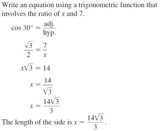 Big Ideas Math Algebra 2 Answers Chapter 9 Trigonometric Ratios and Functions 9.7 a 43