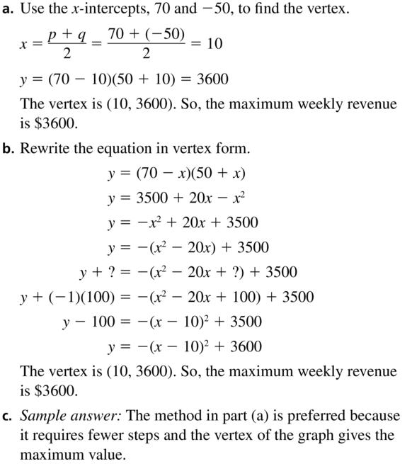 Big Ideas Math Algebra 2 Solutions Chapter 3 Quadratic Equations and Complex Numbers 3.3 a 65