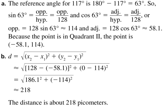Big Ideas Math Algebra 2 Solutions Chapter 9 Trigonometric Ratios and Functions 9.3 a 47