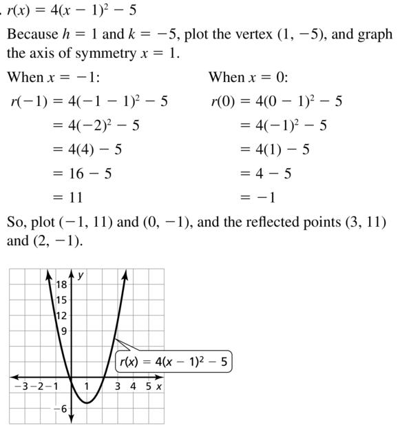 Big Ideas Math Answer Key Algebra 1 Chapter 8 Graphing Quadratic Functions 8.4 a 41.1