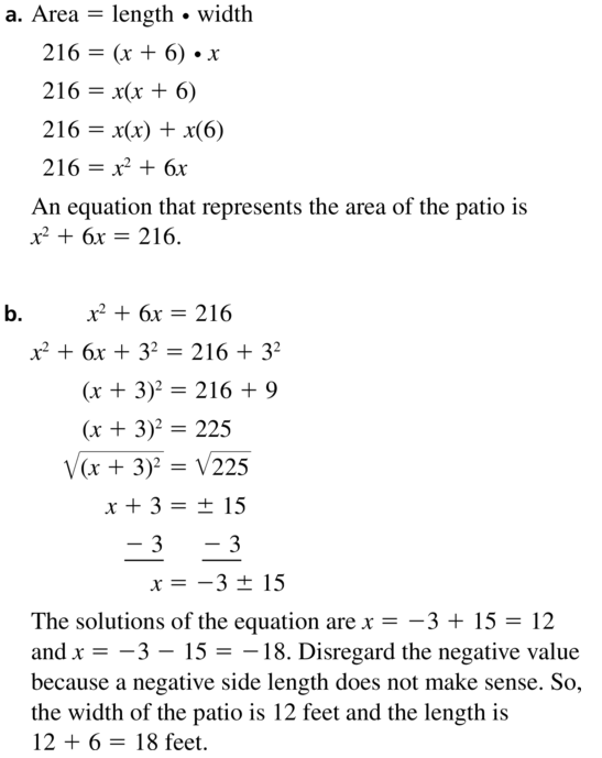 Big Ideas Math Answer Key Algebra 1 Chapter 9 Solving Quadratic Equations 9.4 a 23