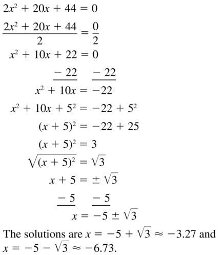 Big Ideas Math Answer Key Algebra 1 Chapter 9 Solving Quadratic Equations 9.4 a 27