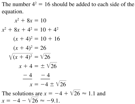Big Ideas Math Answer Key Algebra 1 Chapter 9 Solving Quadratic Equations 9.4 a 33