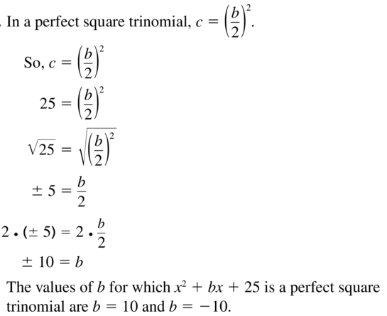 Big Ideas Math Answer Key Algebra 1 Chapter 9 Solving Quadratic Equations 9.4 a 35