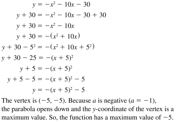 Big Ideas Math Answer Key Algebra 1 Chapter 9 Solving Quadratic Equations 9.4 a 43