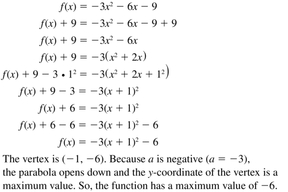 Big Ideas Math Answer Key Algebra 1 Chapter 9 Solving Quadratic Equations 9.4 a 45