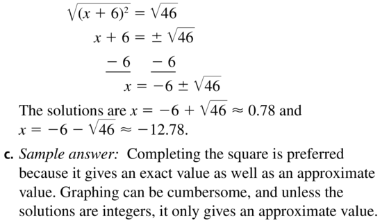 Big Ideas Math Answer Key Algebra 1 Chapter 9 Solving Quadratic Equations 9.4 a 67.2