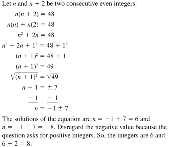 Big Ideas Math Answer Key Algebra 1 Chapter 9 Solving Quadratic Equations 9.4 a 69