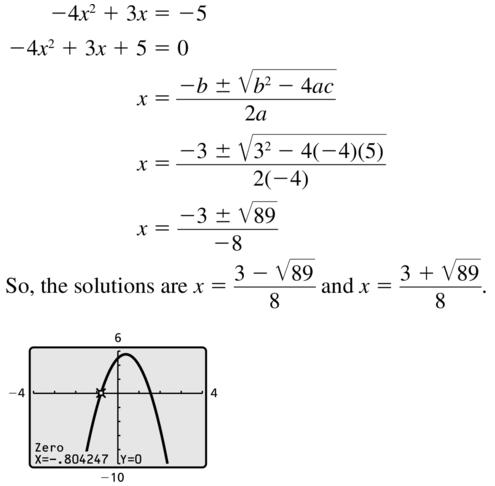 Big Ideas Math Answer Key Algebra 2 Chapter 3 Quadratic Equations and Complex Numbers 3.4 a 15
