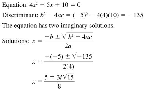 Big Ideas Math Answer Key Algebra 2 Chapter 3 Quadratic Equations and Complex Numbers 3.4 a 23