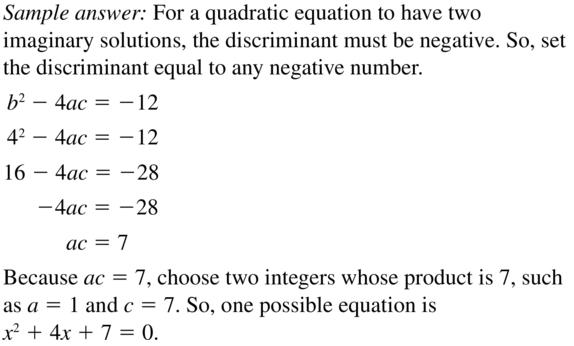 Big Ideas Math Answer Key Algebra 2 Chapter 3 Quadratic Equations and Complex Numbers 3.4 a 35