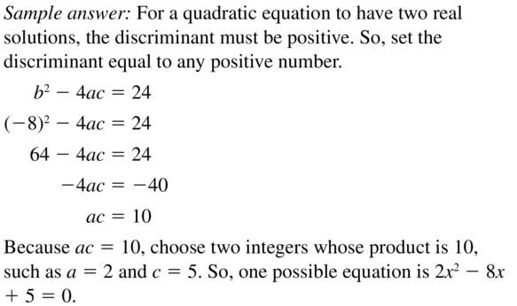 Big Ideas Math Answer Key Algebra 2 Chapter 3 Quadratic Equations and Complex Numbers 3.4 a 37