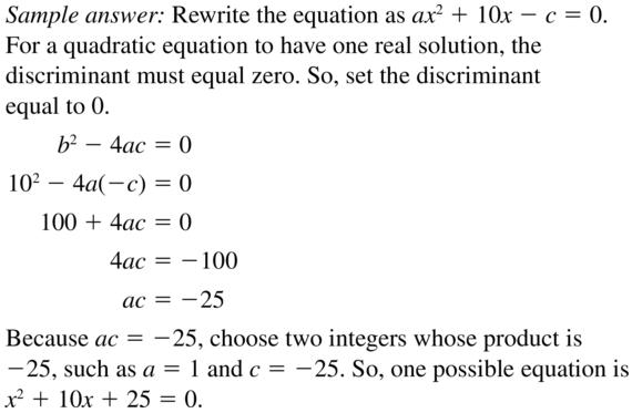 Big Ideas Math Answer Key Algebra 2 Chapter 3 Quadratic Equations and Complex Numbers 3.4 a 39