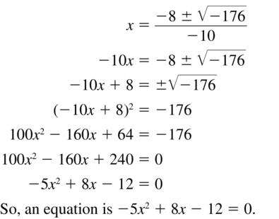 Big Ideas Math Answer Key Algebra 2 Chapter 3 Quadratic Equations and Complex Numbers 3.4 a 41
