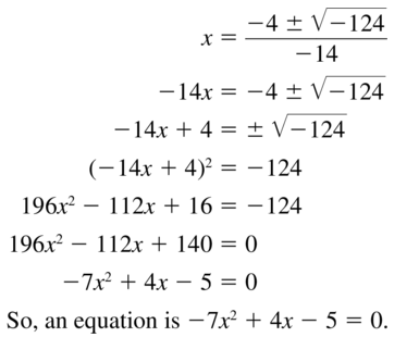 Big Ideas Math Answer Key Algebra 2 Chapter 3 Quadratic Equations and Complex Numbers 3.4 a 43