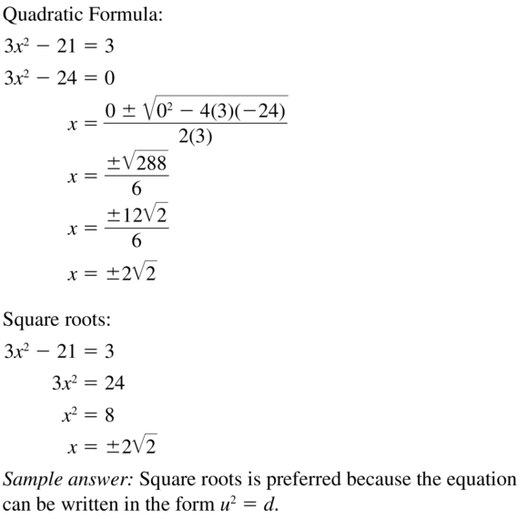 Big Ideas Math Answer Key Algebra 2 Chapter 3 Quadratic Equations and Complex Numbers 3.4 a 47