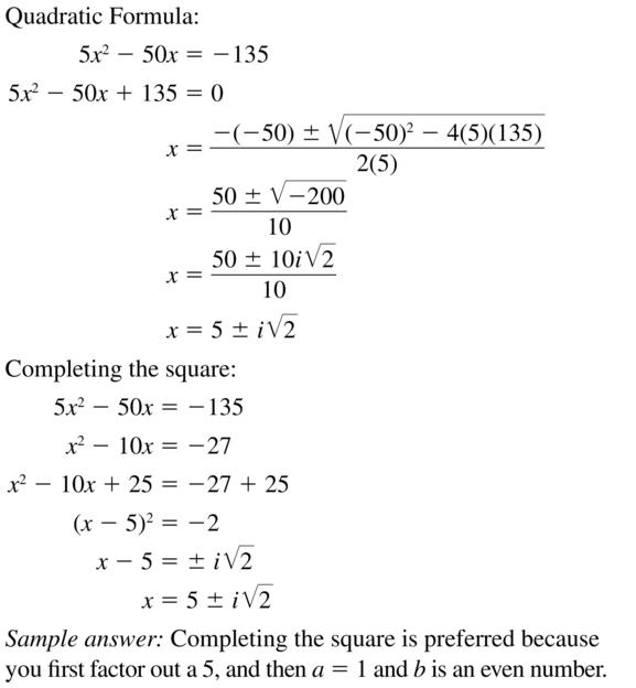 Big Ideas Math Answer Key Algebra 2 Chapter 3 Quadratic Equations and Complex Numbers 3.4 a 53