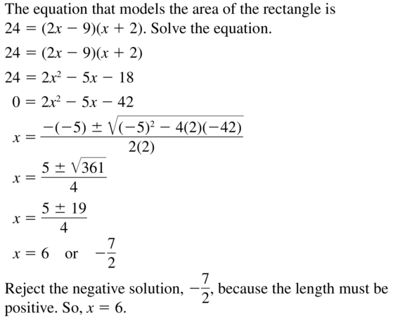 Big Ideas Math Answer Key Algebra 2 Chapter 3 Quadratic Equations and Complex Numbers 3.4 a 59