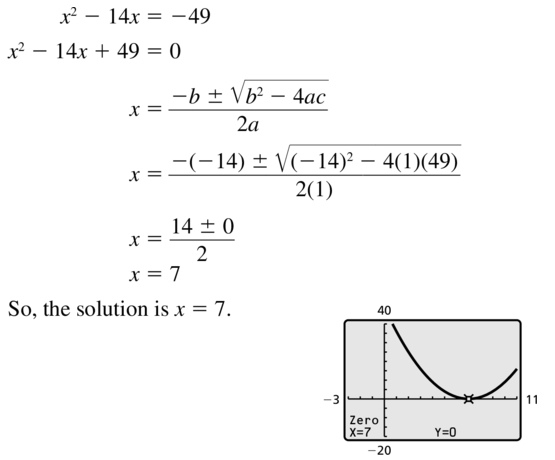 Big Ideas Math Answer Key Algebra 2 Chapter 3 Quadratic Equations and Complex Numbers 3.4 a 9