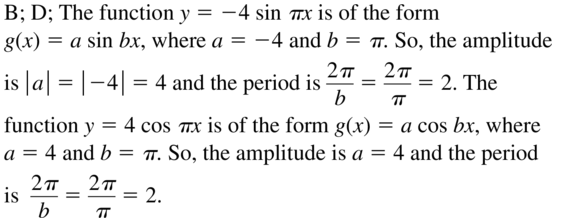 Big Ideas Math Answer Key Algebra 2 Chapter 9 Trigonometric Ratios and Functions 9.4 a 21